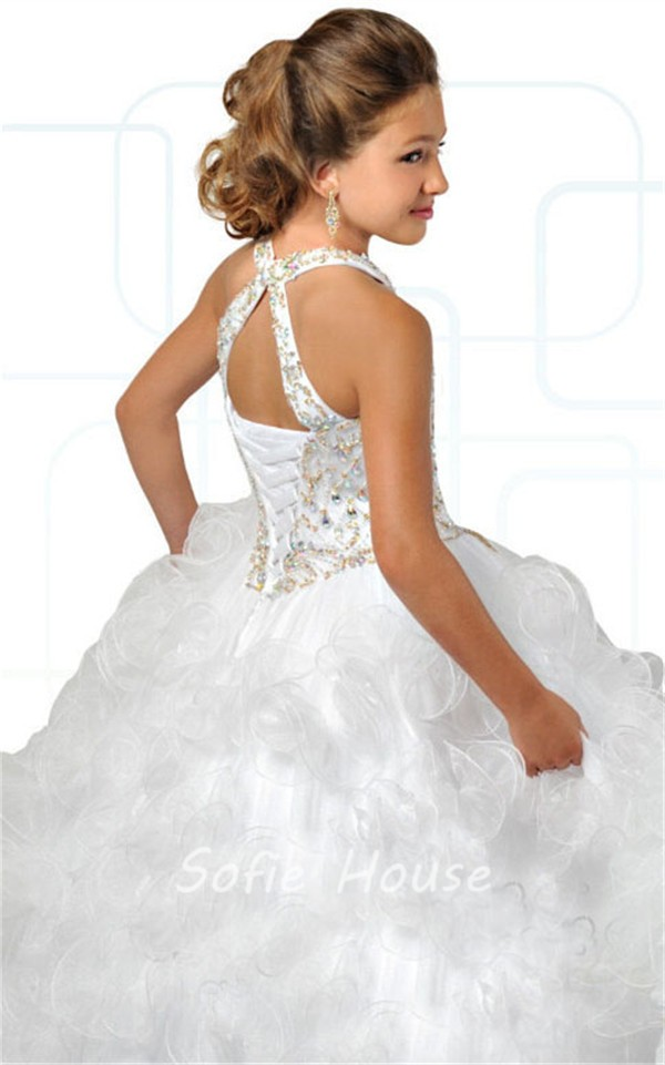766f083c40 Ball Gown Halter White Tulle Ruffle Beaded Puffy Girl Pageant Prom Dress
