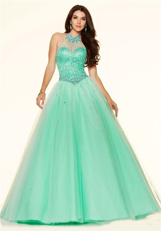 Ball Gown High Neck Drop Waist Corset Mint Green Tulle Beaded Prom Dress