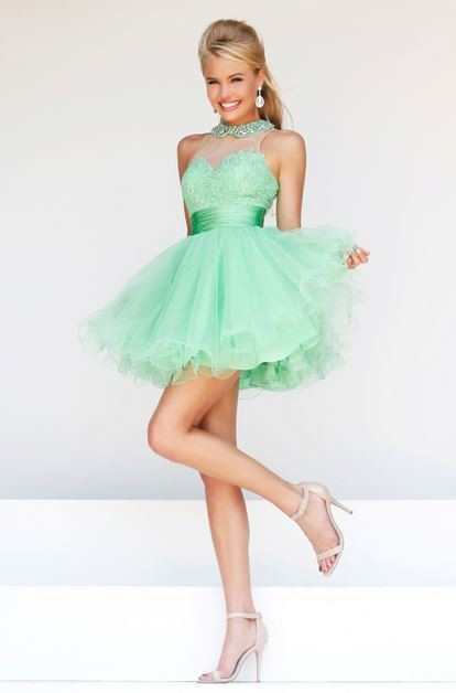 Ball Gown High Neck Keyhole Back Short Mint Green Tulle Lace Prom ...