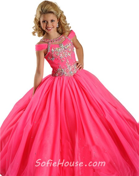 Ball Gown Hot Pink Tulle Crystals Beaded Little Girls ...