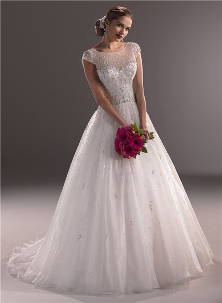 Ball gown illusion neckline cap sleeve tulle wedding dress for Tulle wedding dress with sleeves