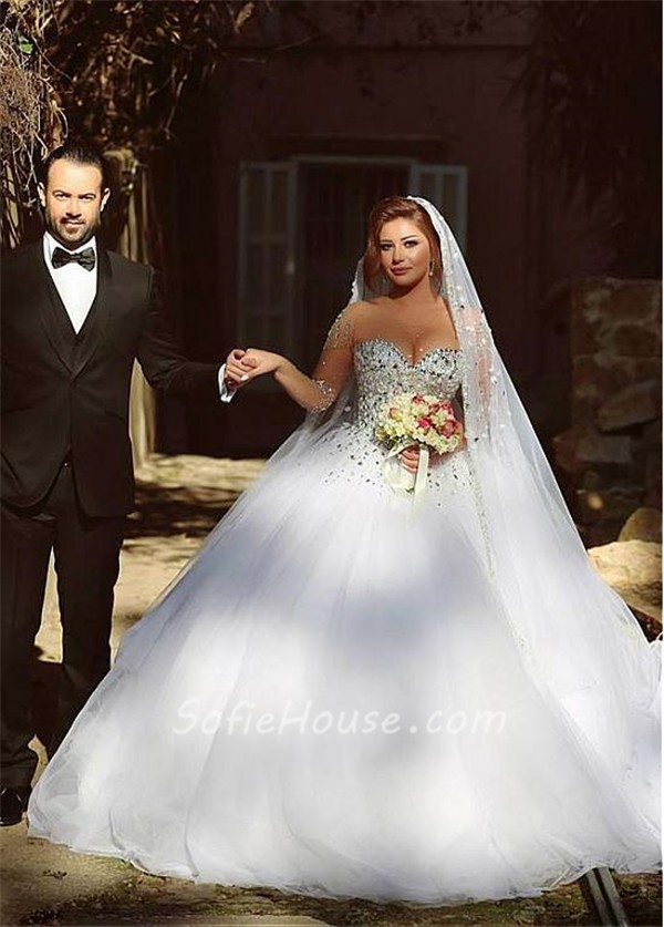 Ball gown illusion neckline see through tulle long sleeve for See through corset wedding dresses