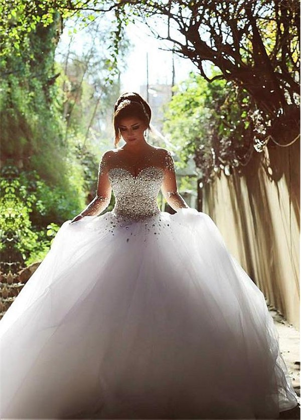 Ball Gown Illusion Neckline See Through Tulle Long Sleeve