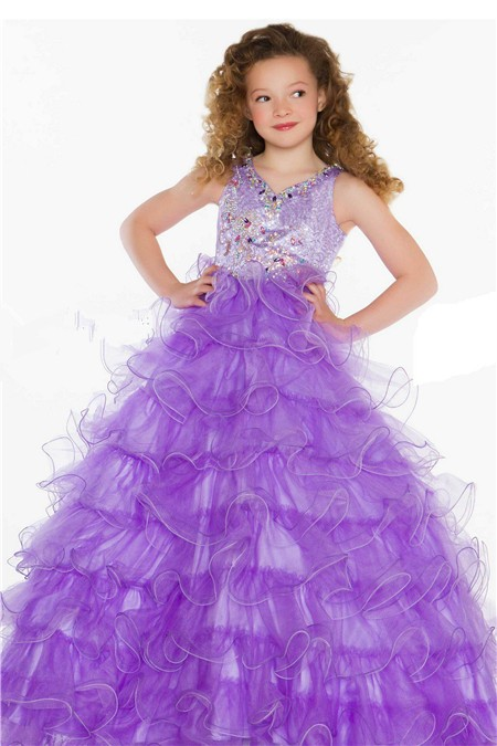 Gown Long Lilac Purple Tulle Ruffle Beaded Little Girl Party Prom ...