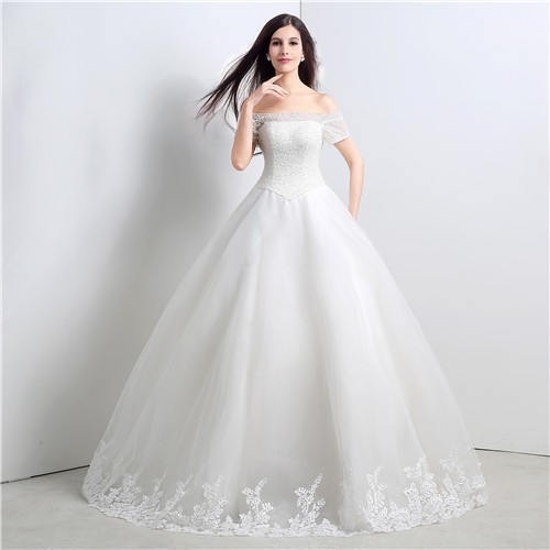 Ball Gown Off The Shoulder Drop Waist Tulle Crystal