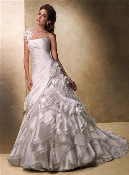 Ball Gown One Shoulder Layered Organza Ruffle Wedding