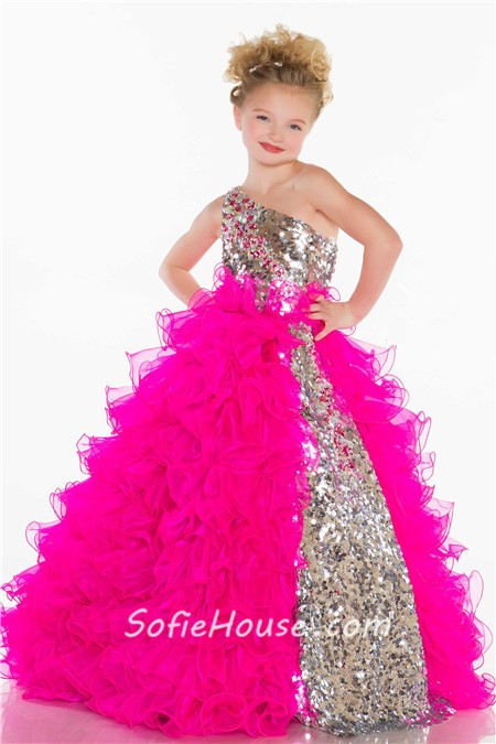 0b7d35b146e ... Ball Gown One Shoulder Long Silver Sequin Fuchsia Organza Ruffle Little  Girl Prom Dress