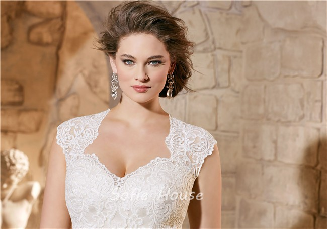 e97069cfe2 Ball Gown Queen Anne Neckline Illusion Back Tulle Plus Size Wedding Dress.  Sale
