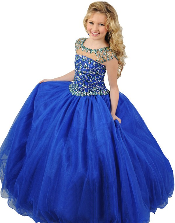 Ball Gown Round Neck Cap Sleeve Royal Blue Tulle Beaded