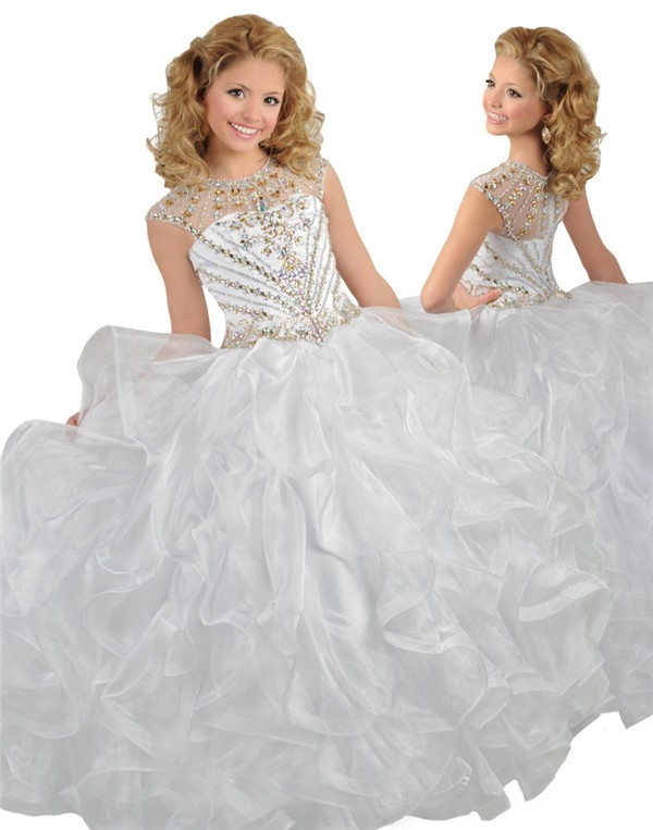 Ball Gown Round Neck White Organza Ruffle Girl Pageant Prom Dress
