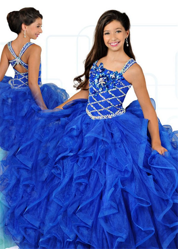 Ball Gown Royal Blue Organza Ruffle Beaded Girl Pageant