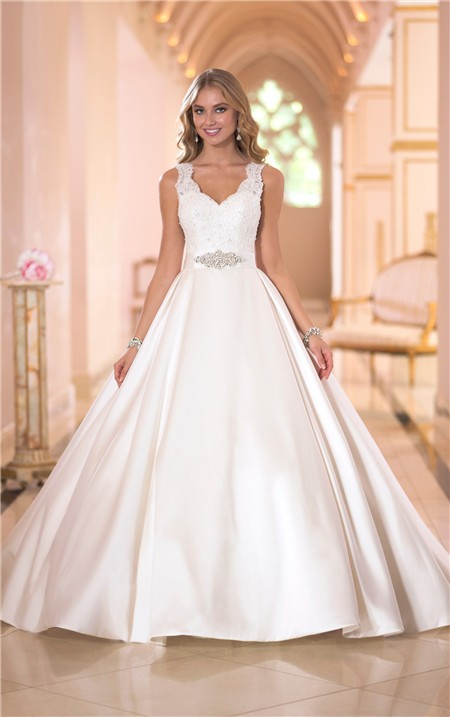 Ball gown scalloped neck keyhole open back satin lace for Satin and lace wedding dresses