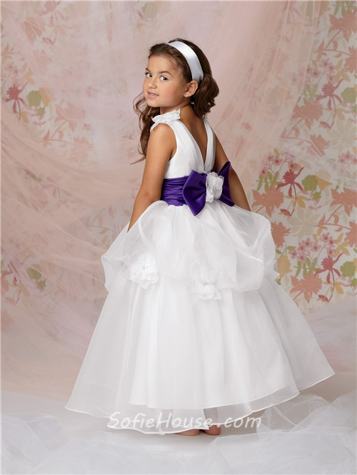 Ball gown scoop floor length white organza flower girl dress with ball gown scoop floor length white organza flower girl dress with purple sash bow mightylinksfo
