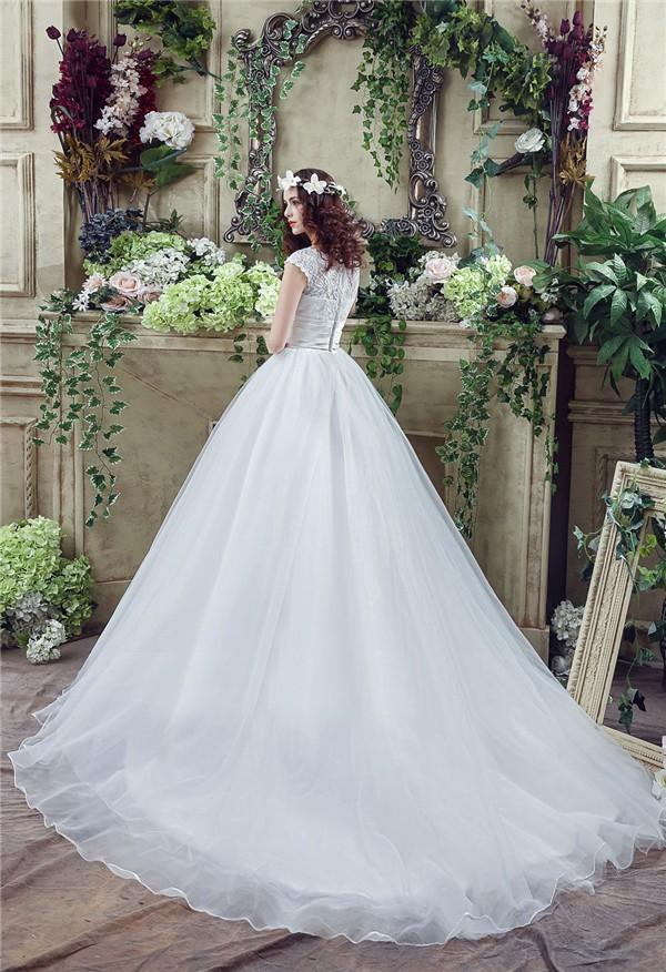 Ball Gown Scoop Neck Lace Organza Wedding Dress Chapel Train