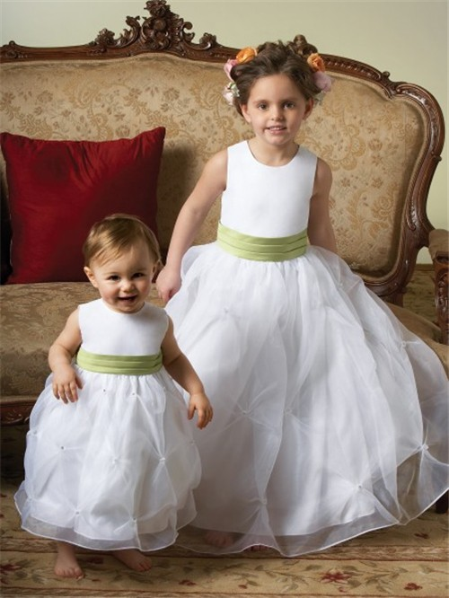 Gown Scoop Tea Length White Organza Toddler Flower Girl Dress With ...