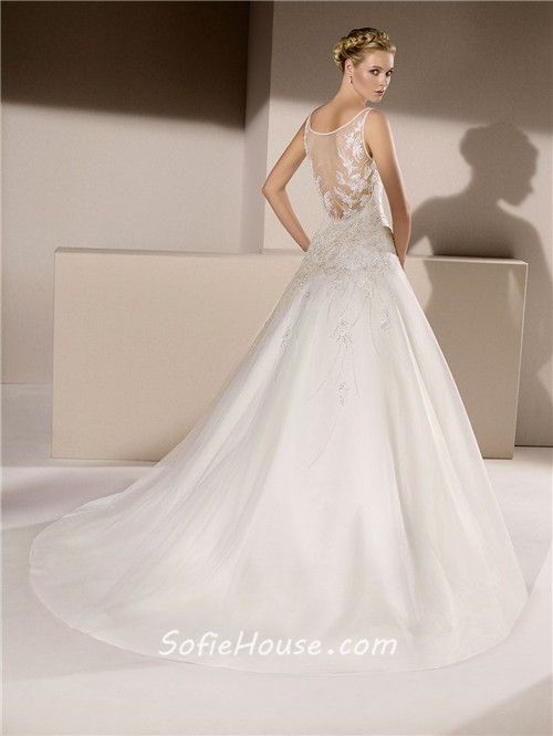 Ball gown sheer illusion boat neckline tulle applique for Wedding dresses with sheer illusion neckline