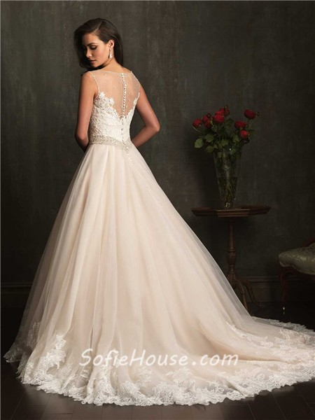 Ball gown sheer illusion neckline champagne lace tulle for Wedding dress champagne lace