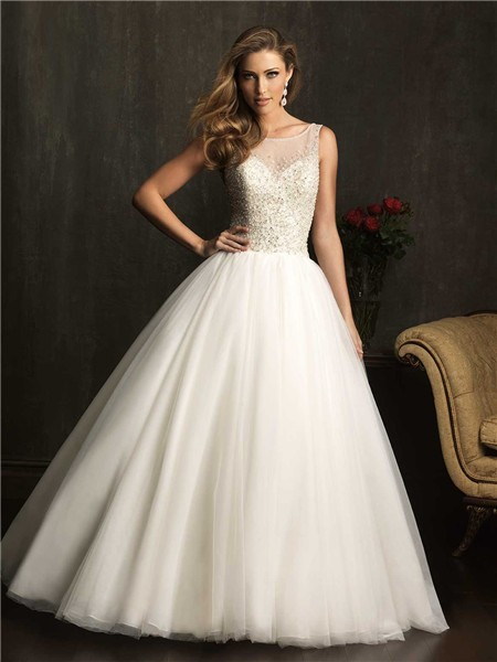 Ball gown sheer illusion neckline tulle beaded wedding for Beaded low back wedding dress