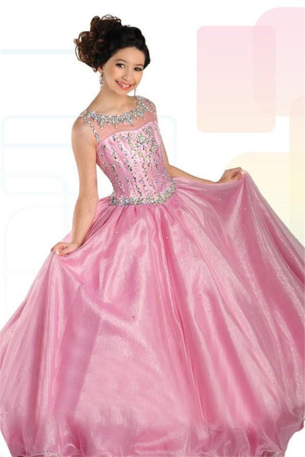 Ball Gown Sleeveless Open Back Pink Organza Beaded Girl