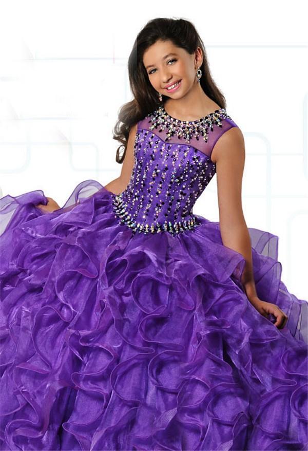 Ball Gown Sleeveless Purple Organza Ruffle Beaded Girl
