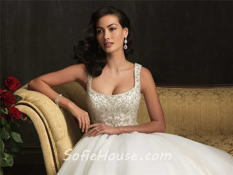 Ball Gown Square Neck Embroidery Beading Tulle Wedding Dress With ...