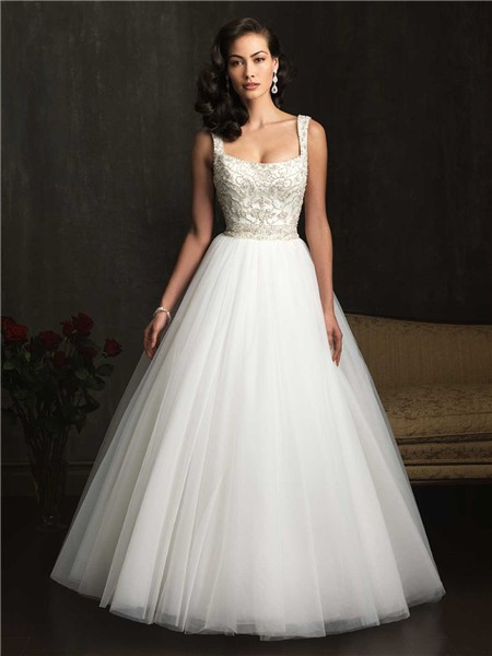 Gown Square Neck Embroidery Beading Tulle Wedding Dress With Straps