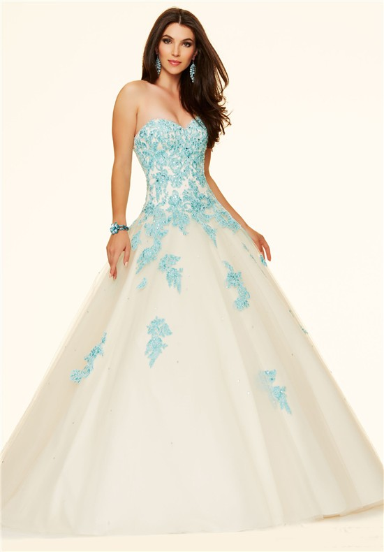 Ball Gown Strapless Champagne Tulle Blue Lace Beaded Prom