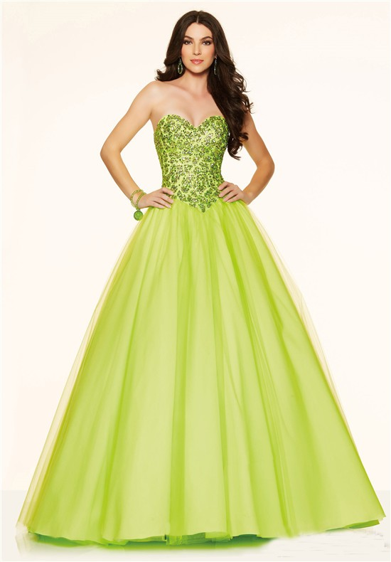 Ball Gown Strapless Corset Back Lime Green Tulle Beaded Prom Dress