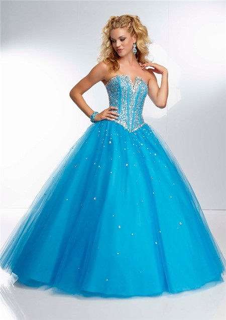Gown Strapless Corset Back Long Blue Tulle Beaded Prom Dress