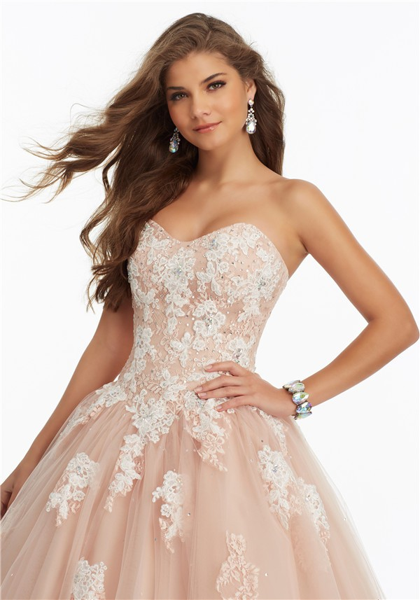 40446aa89c Ball Gown Strapless Corset Champagne Tulle Lace Applique Prom Dress