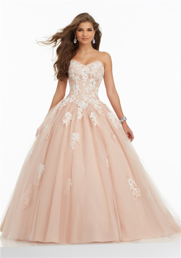 Ball Gown Strapless Corset Champagne Tulle Lace Applique