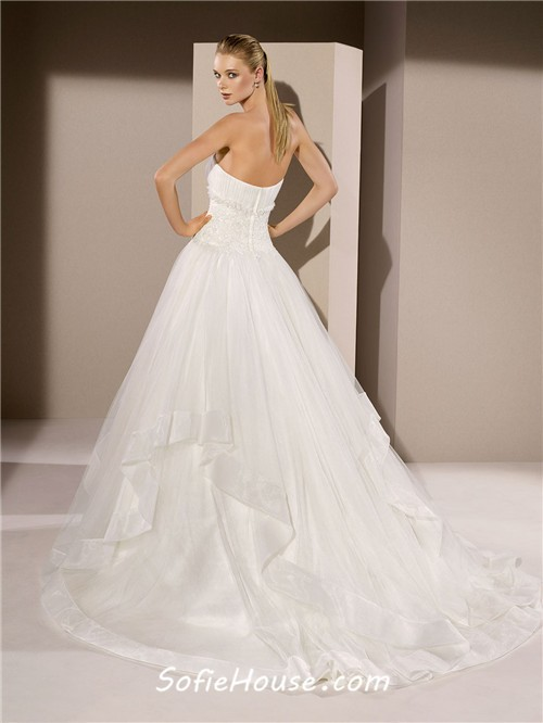 Ball gown strapless drop waist applique tulle ruffle for Ruffle ball gown wedding dress