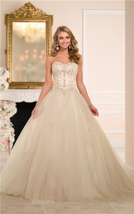 Ball gown strapless drop waist champagne colored satin for Champagne ball gown wedding dresses