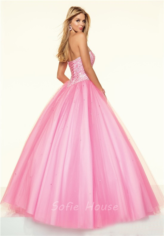 Ball Gown Strapless Drop Waist Corset Light Pink Tulle