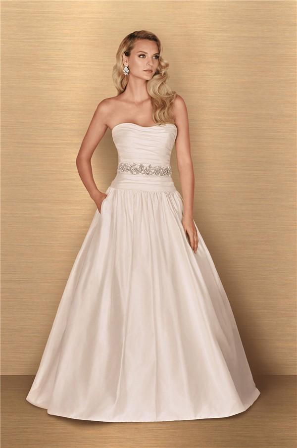 Ball Gown Strapless Drop Waist Taffeta Ruched Wedding Dress Low Back