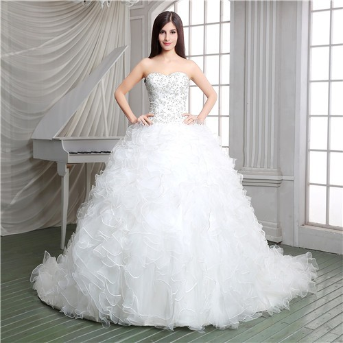 Gown Strapless Embroidery Satin Organza Ruffle Corset Wedding Dress