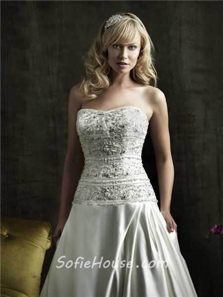 Ball gown strapless fitted dropped waist satin embroidered for Fitted strapless wedding dress