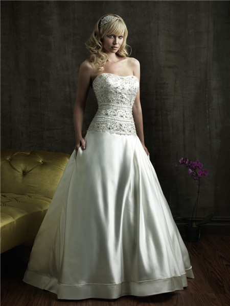 ball gown strapless fitted dropped waist satin embroidered