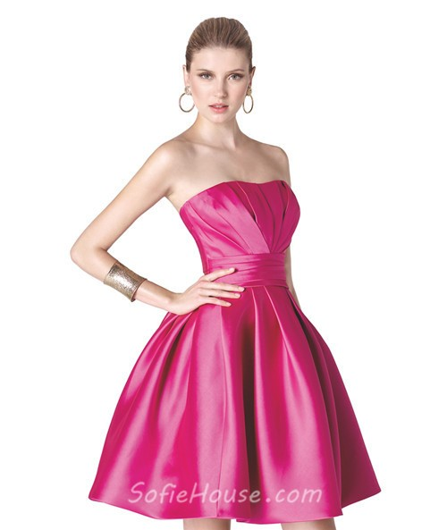 Ball Gown Strapless Hot Pink Ruched Satin Short Party Prom