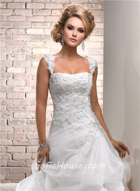 Ball gown strapless lace tulle wedding dress with for Lace wedding dress with straps