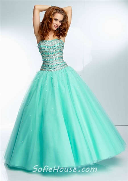 Ball Gown Strapless Long Coral Tulle Beaded Crystal Prom Dress ...