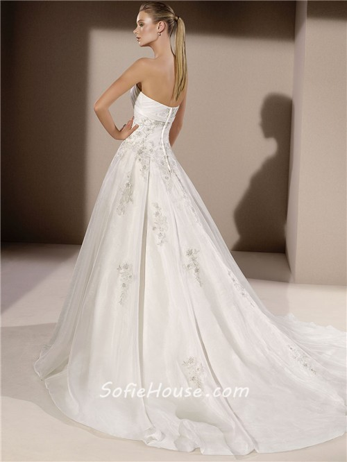 Ball gown strapless organza applique beaded wedding dress for How to make a beaded belt for a wedding dress