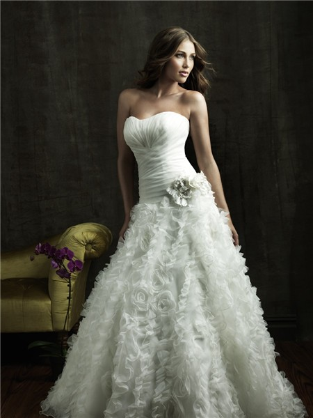 Gown Strapless Organza Floral Wedding Dress With Corset Back Train