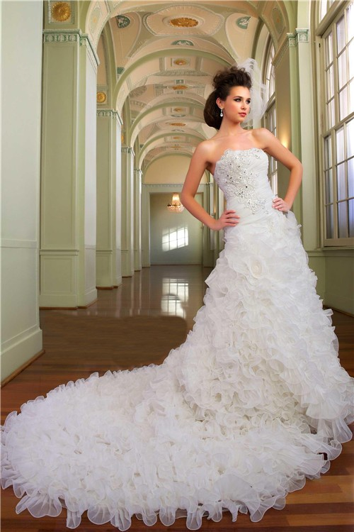 Ball gown strapless organza ruffle crystal church wedding for Strapless wedding dresses with long trains