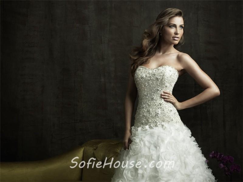 Ruffle Ball Gown Wedding Dress: Ball Gown Strapless Organza Ruffles Floral Wedding Dress