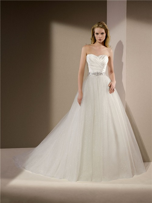 Ball gown strapless ruched satin glitter tulle wedding for Tulle halter wedding dress