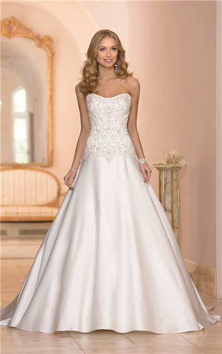 bc8ac956d8 Ball Gown Strapless Satin Embroidery Beaded Corset Wedding Dress With  Buttons