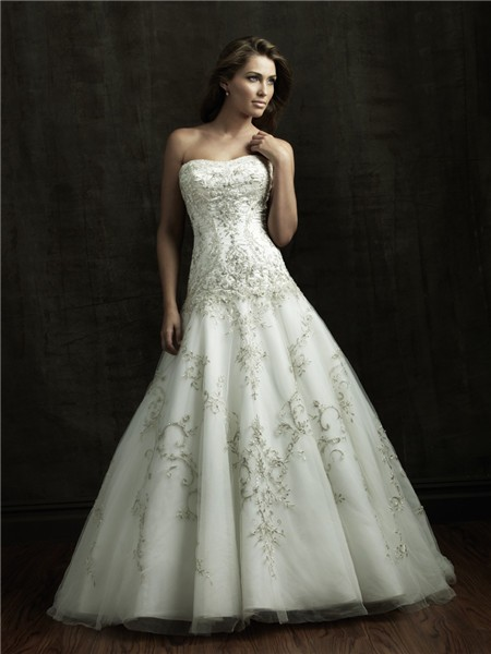 Ball Gown Strapless Satin Tulle Wedding Dress With Sparkle