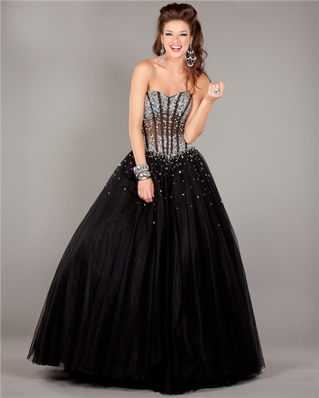 Gown Strapless See Through Corset Black Tulle Beaded Prom Dress