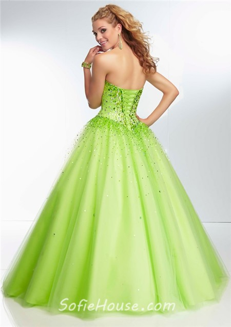 208b4bc0152 Ball Gown Strapless Sweetheart Corset Back Lime Green Tulle Beaded Prom  Dress
